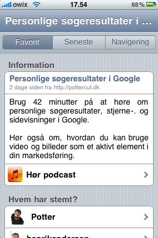 Potters Podcast i aNyhed til iPhone applikationen