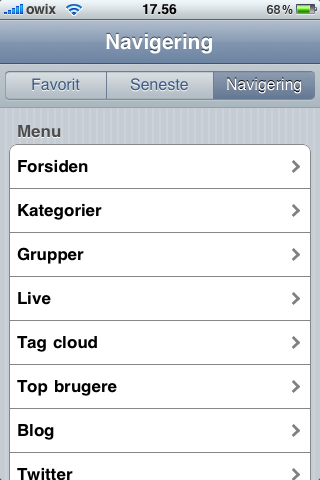 iPhone aNyhed-applikation menu