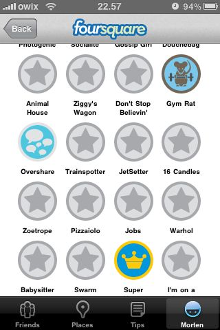 foursquare opdatering badges