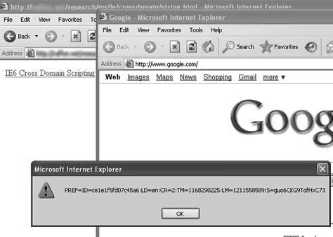 Google set i Internet Explorer 6