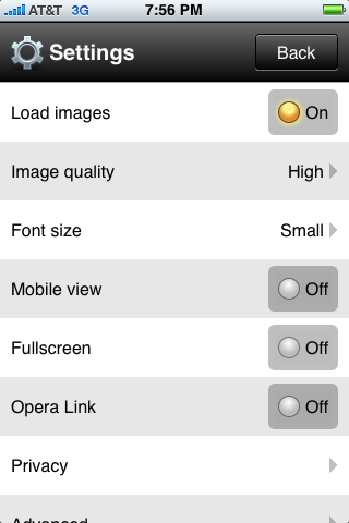 iPhone applikation Opera Mini