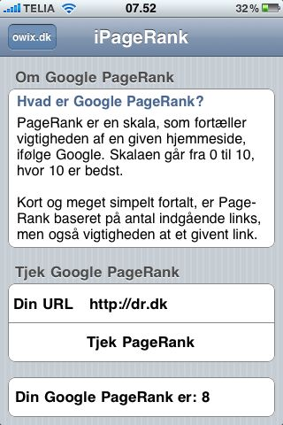 iPageRank applikation til iPhone