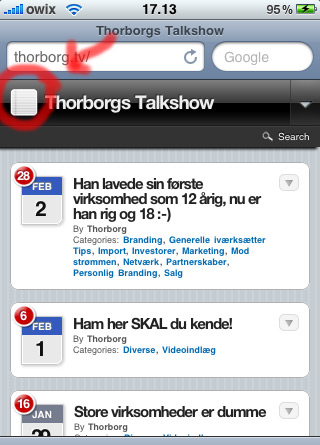 Eksempel på Thorborgs Talkshow iPhone